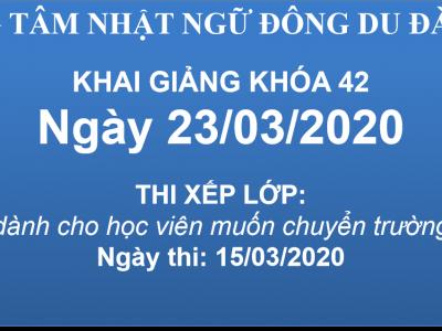 KHAI GIẢNG KHÓA 42 - NGÀY 23/03/2020